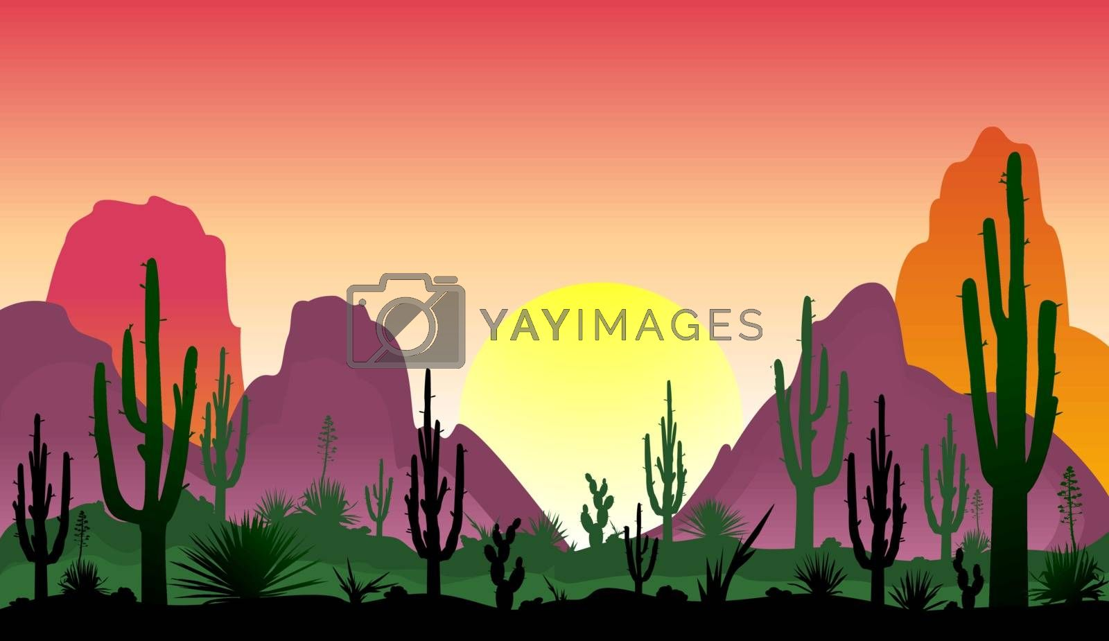 Stony desert with cacti by liolle