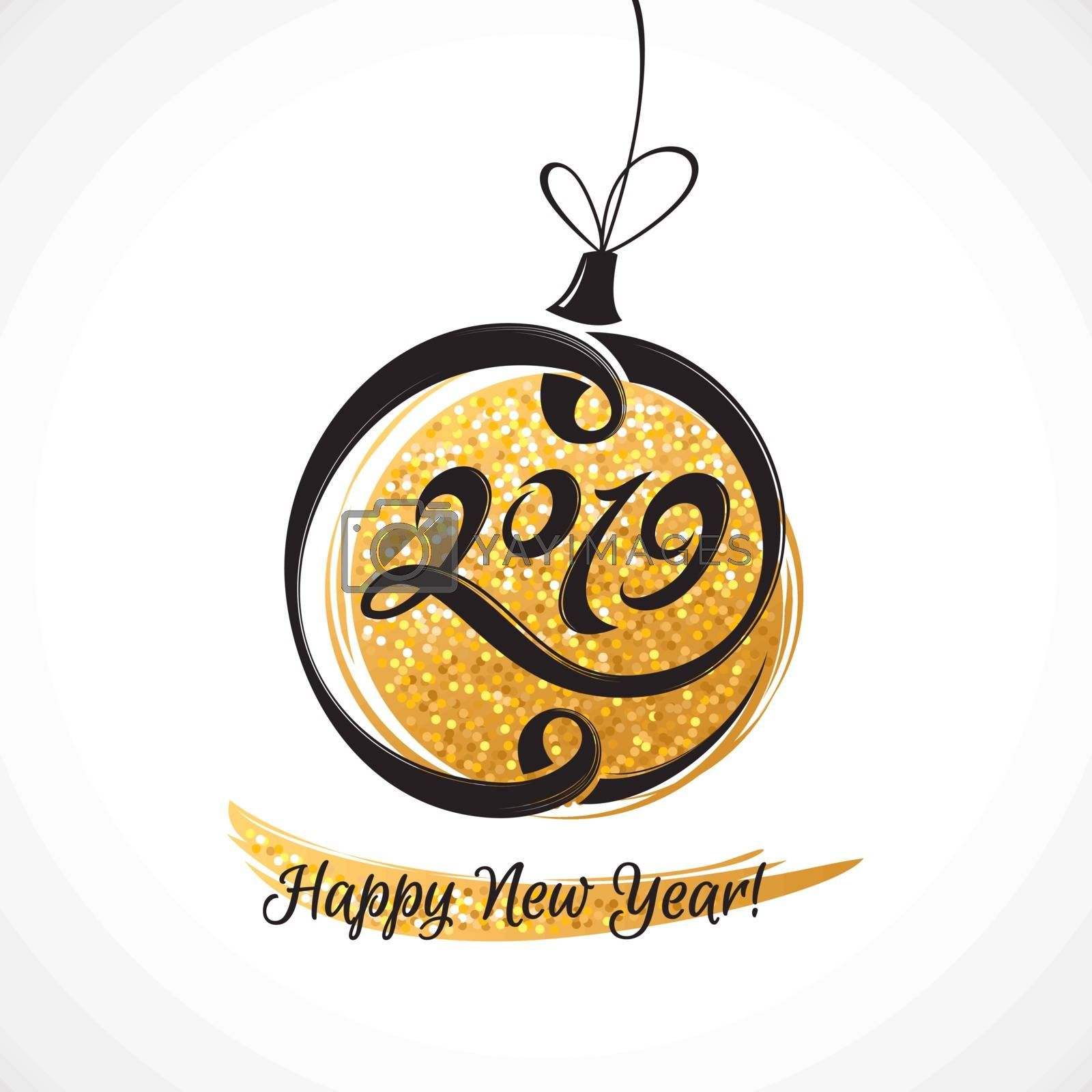 2019 New Year greeting card with stylized Christmas ball. Vector illustration