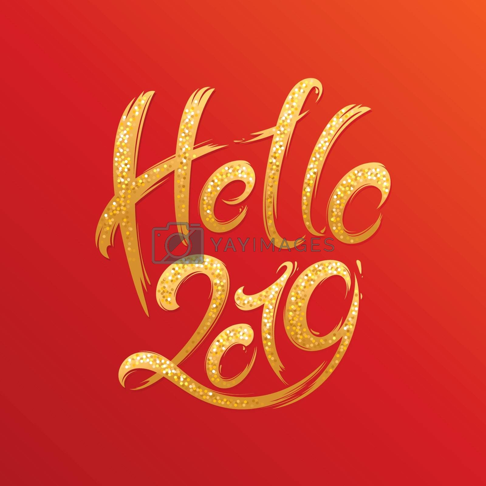 2019 New Year handwritten shimmering lettering greeting card. Hand drawn vector illustration