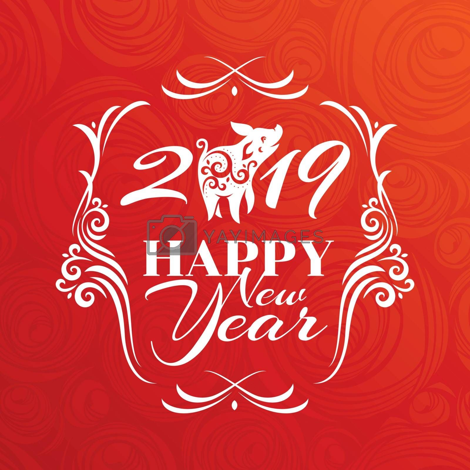 2019 Chinese New Year Greeting Card. Year of The Pig. Vector illustration
