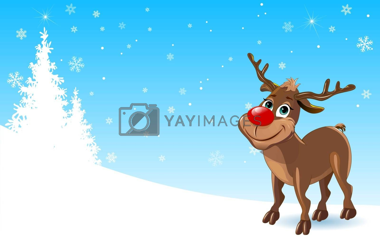 Cartoon deer on a winter background. A deer on the background of snowflakes and firs. A deer with a red nose.
