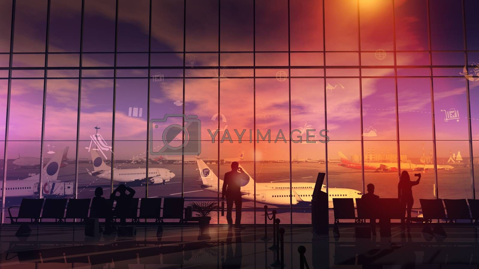 Silhouettes stand in front of a large window in the airport departure hall before a big trip.
