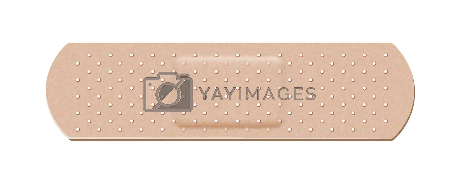Medical bactericidal adhesive plaster of human color on a white background