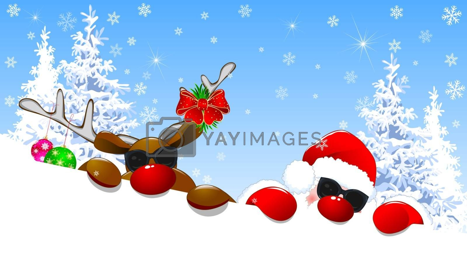 Santa and a deer are lying in the snow against the backdrop of a winter forest. Santa and a deer with a red nose.