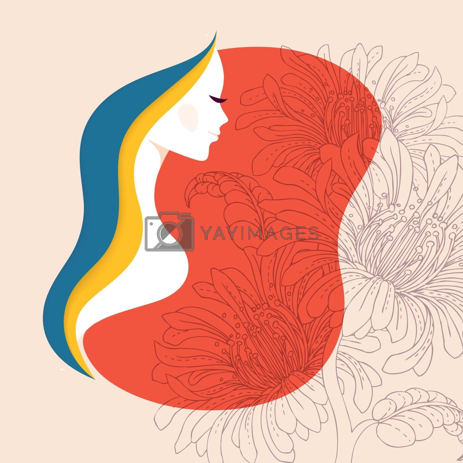Vector illustration of Beautiful woman with floral elements