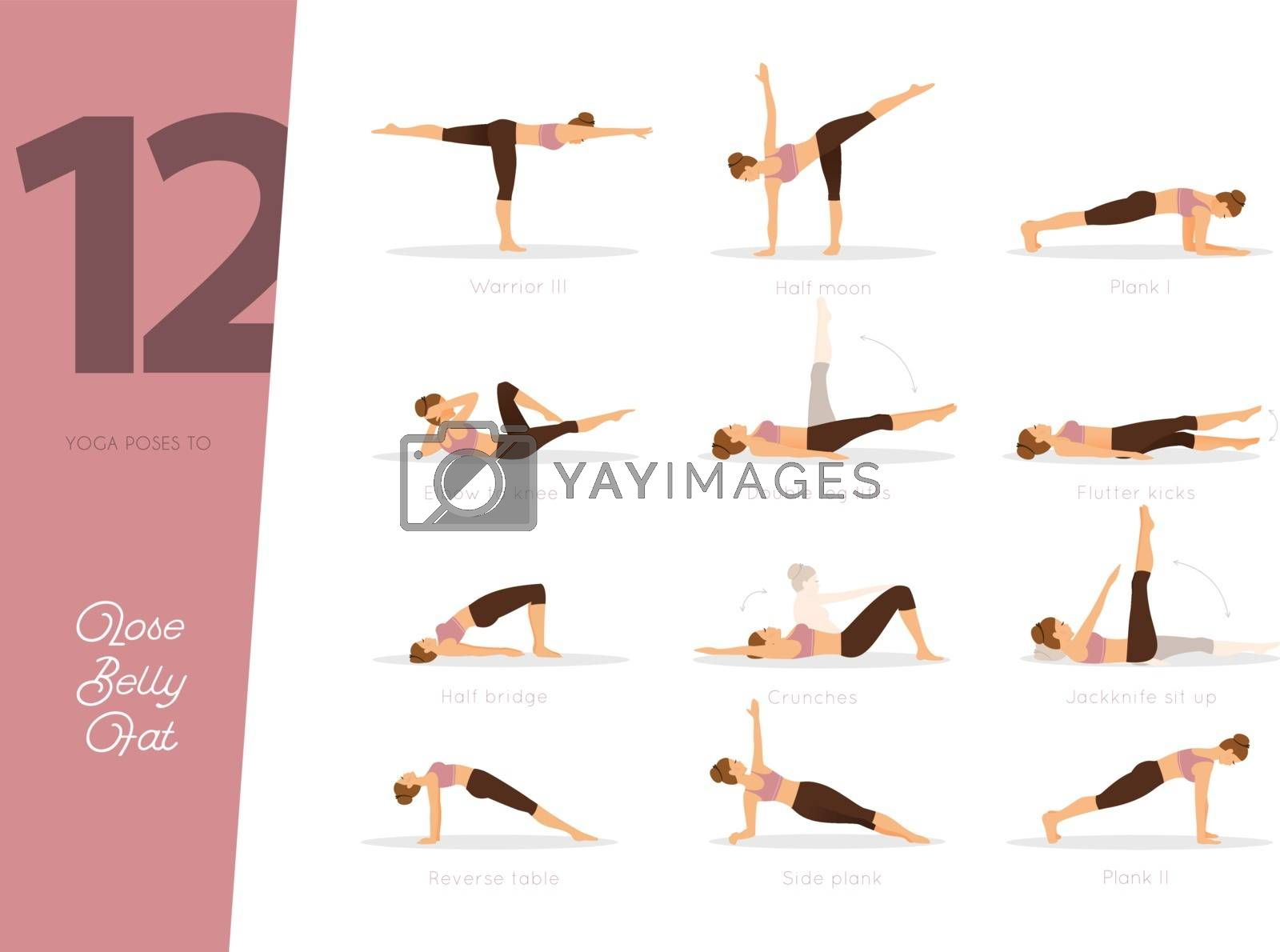 Vector illustration of 12 Yoga poses to lose belly fat