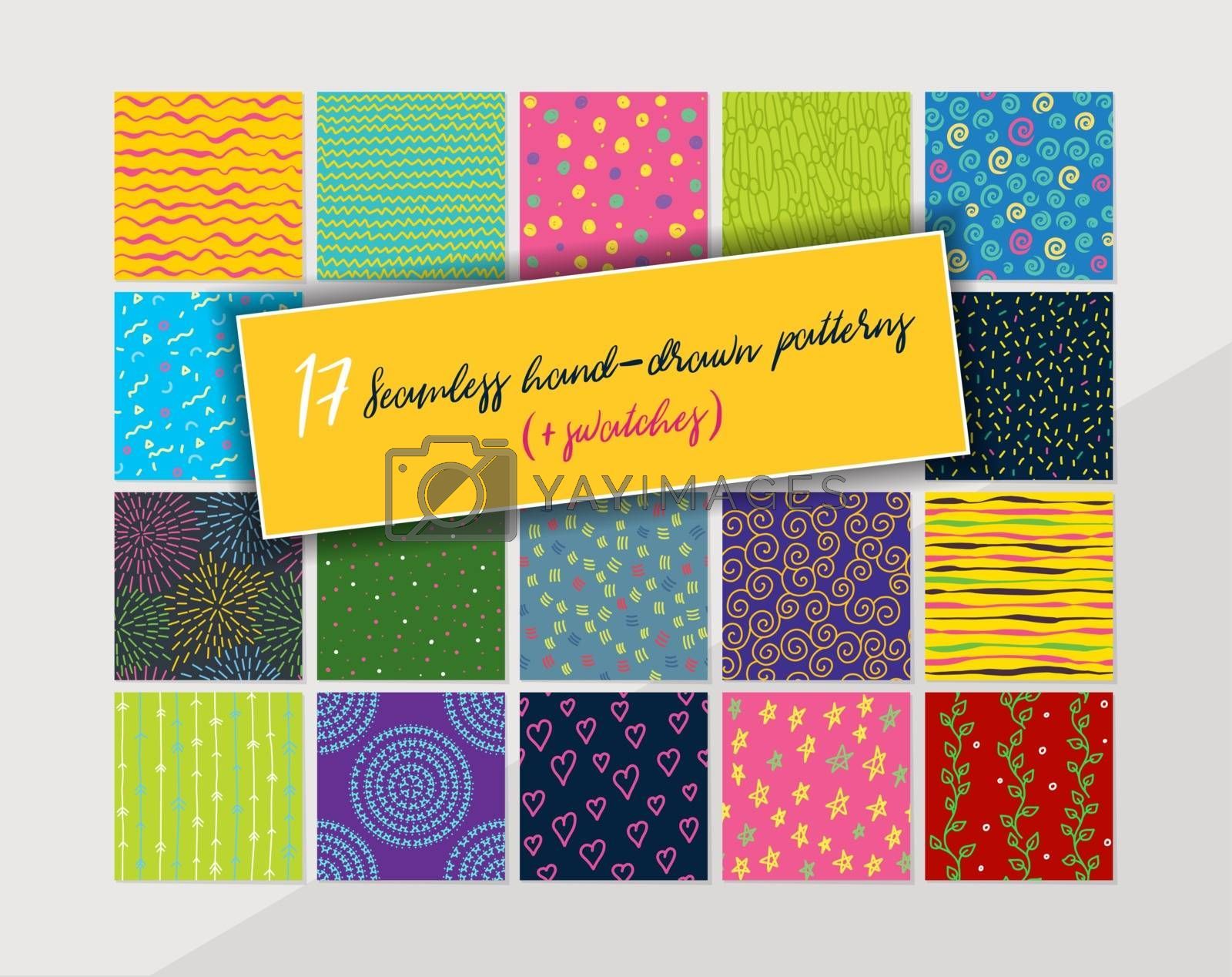 Vector illustration of 17 seamless hand-drawn pattern swatches