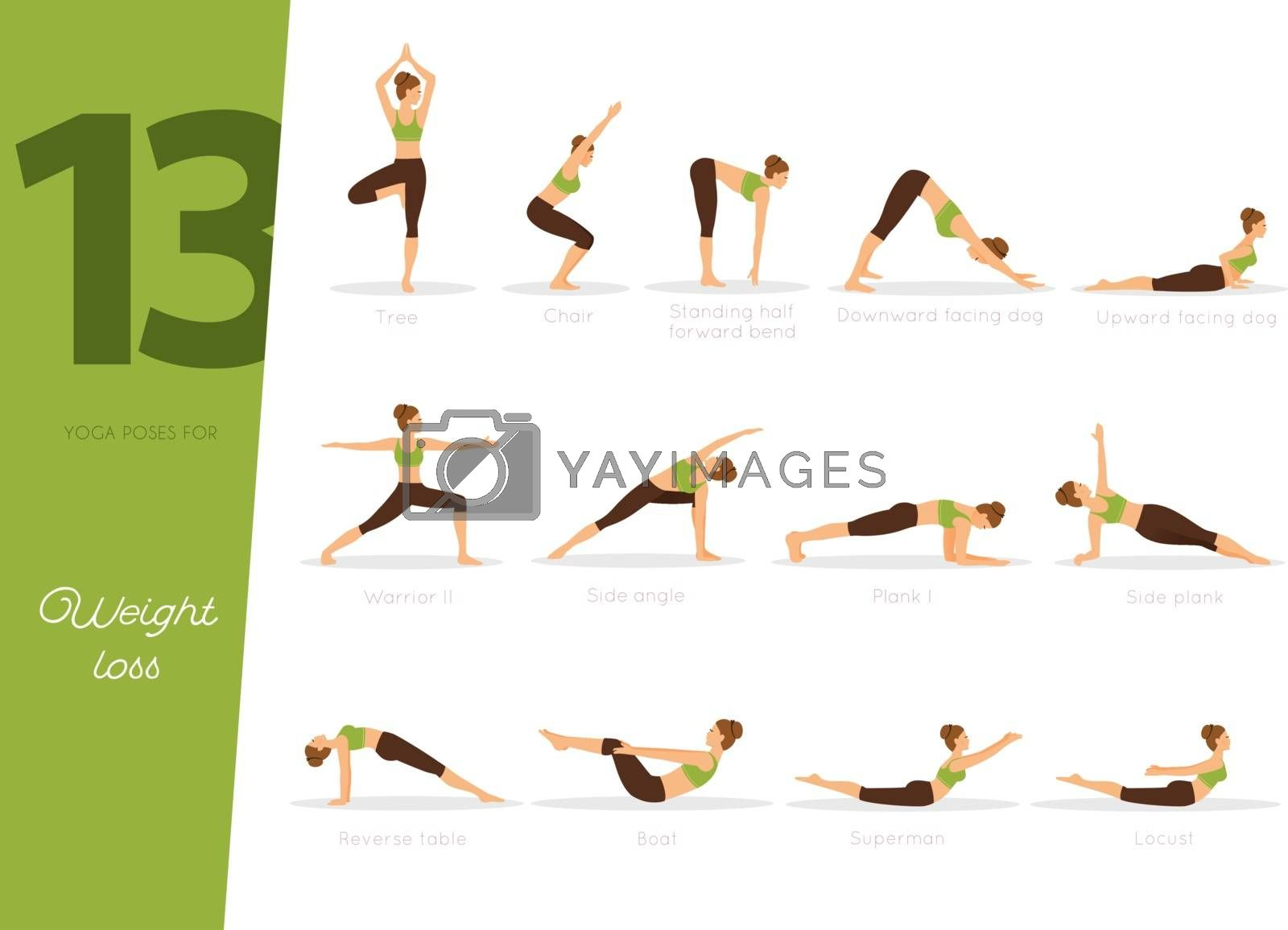 Vector illustration of 13 Yoga poses for weight loss