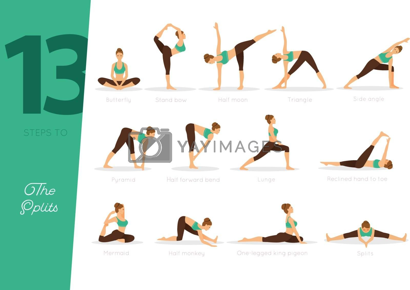Vector illustration of 13 Steps to splits