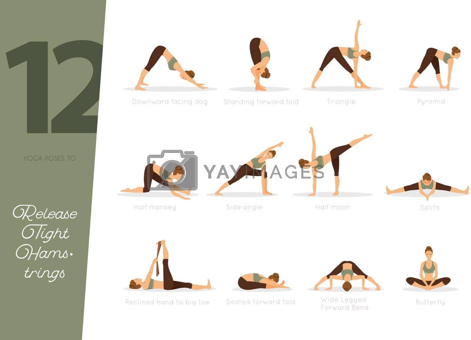 Vector illustration of 12 Yoga poses to release tight hamstrings