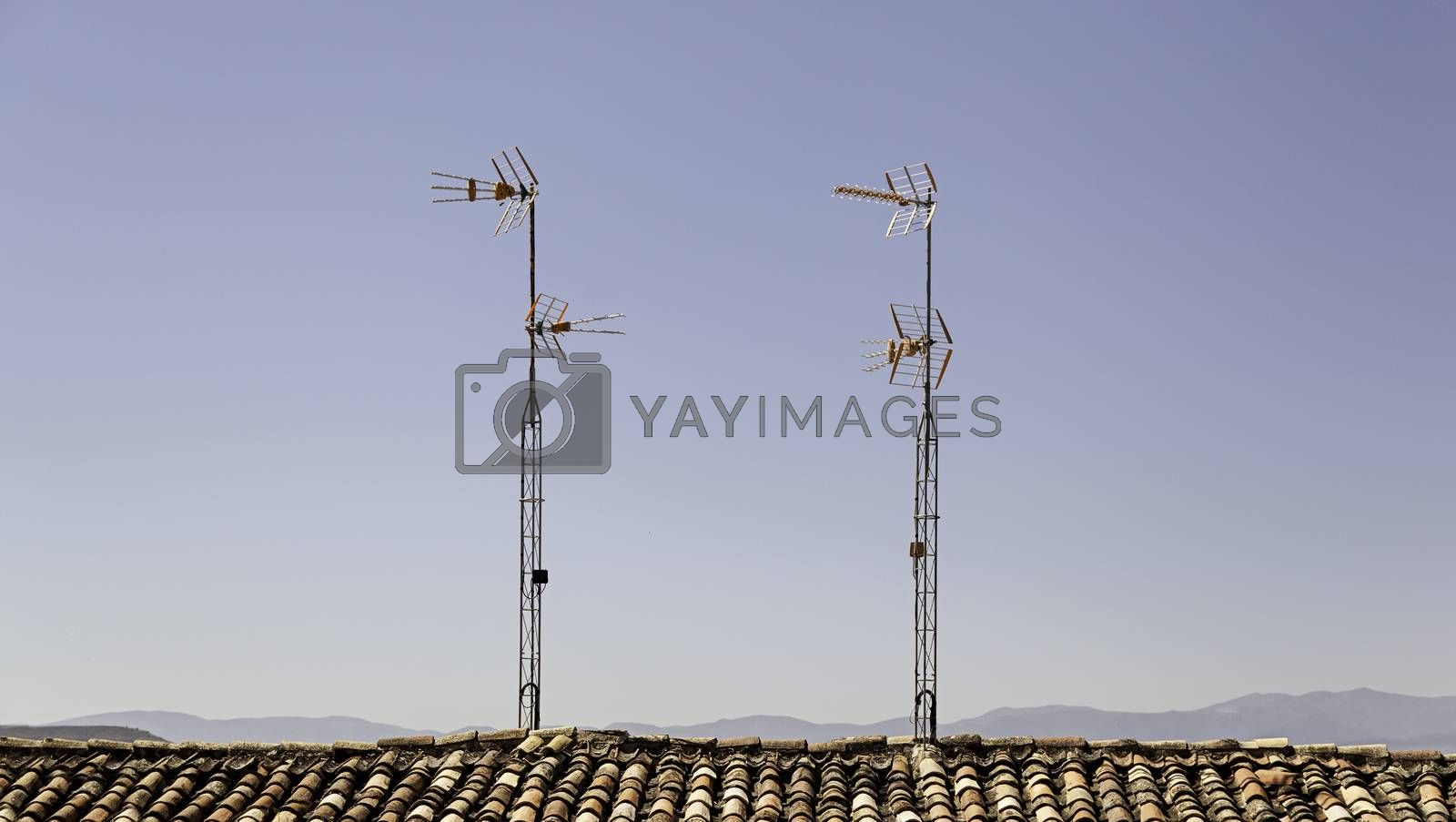 Old antennas to watch analog television, detail of obsolete technology