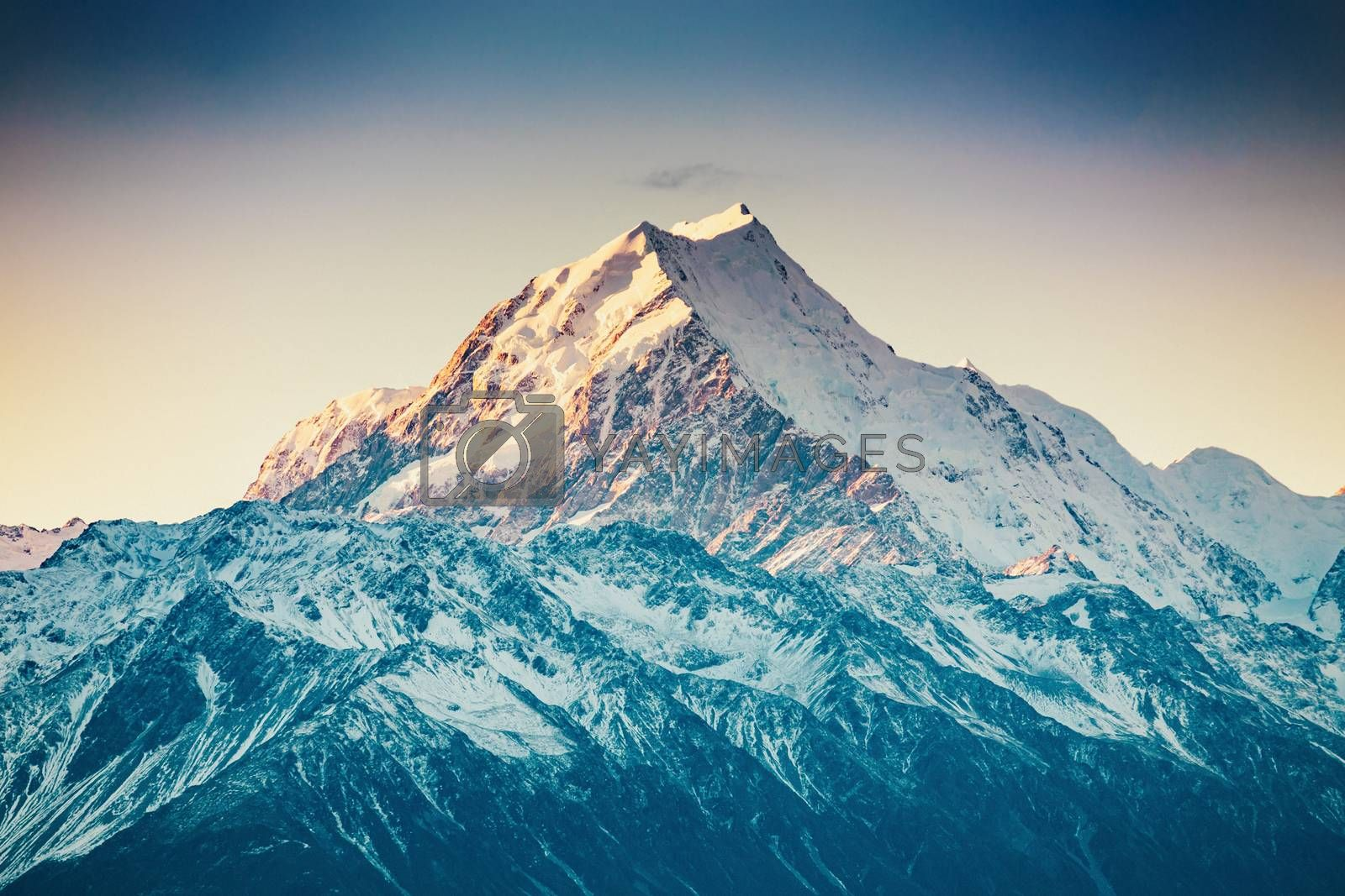 Snowcapped Mt. Cook Peak during Sunset in Mt. Cook National Park, magnificent rugged mountain with snow and ice, South Island, New Zealand