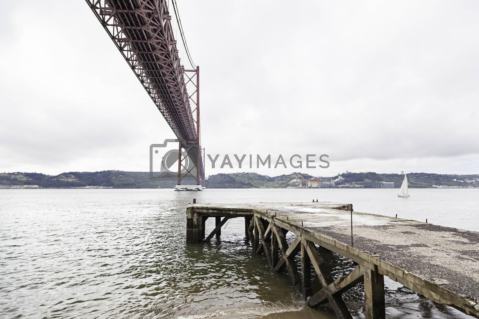 Suspension Bridge over the Tagus river in Lisbon, Portugal, Eutopean travel