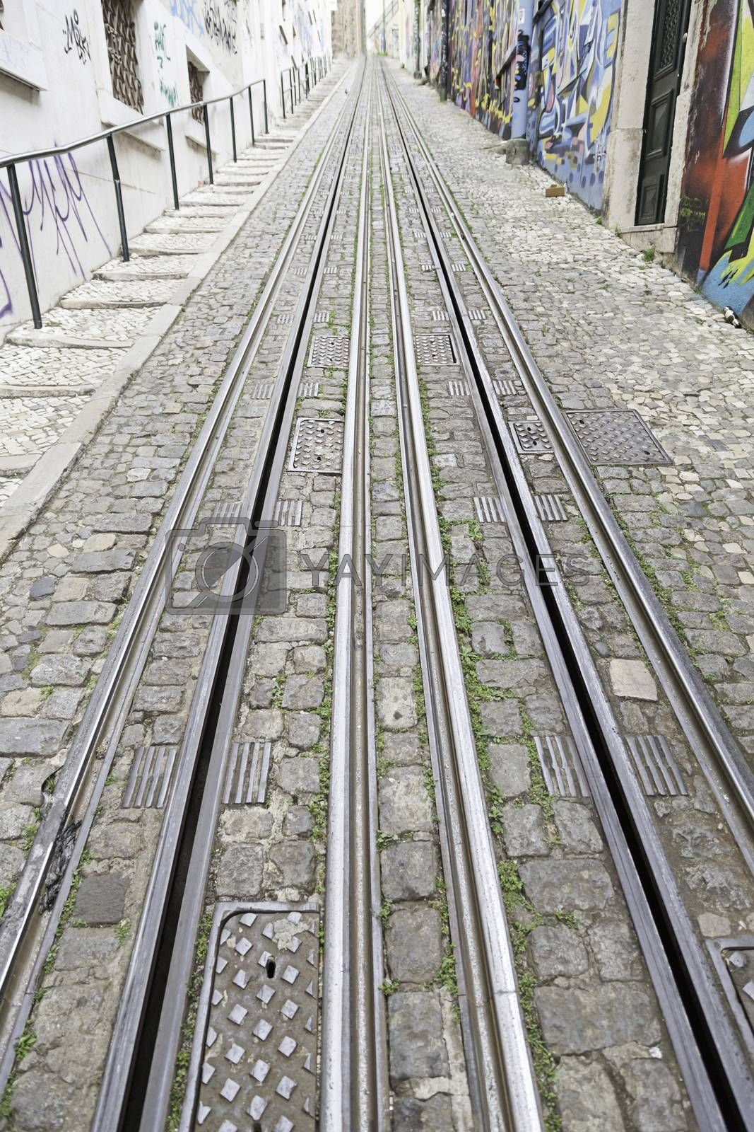 Tram tracks in the city, a detail of public transport in the city of Lisbon, former public transport