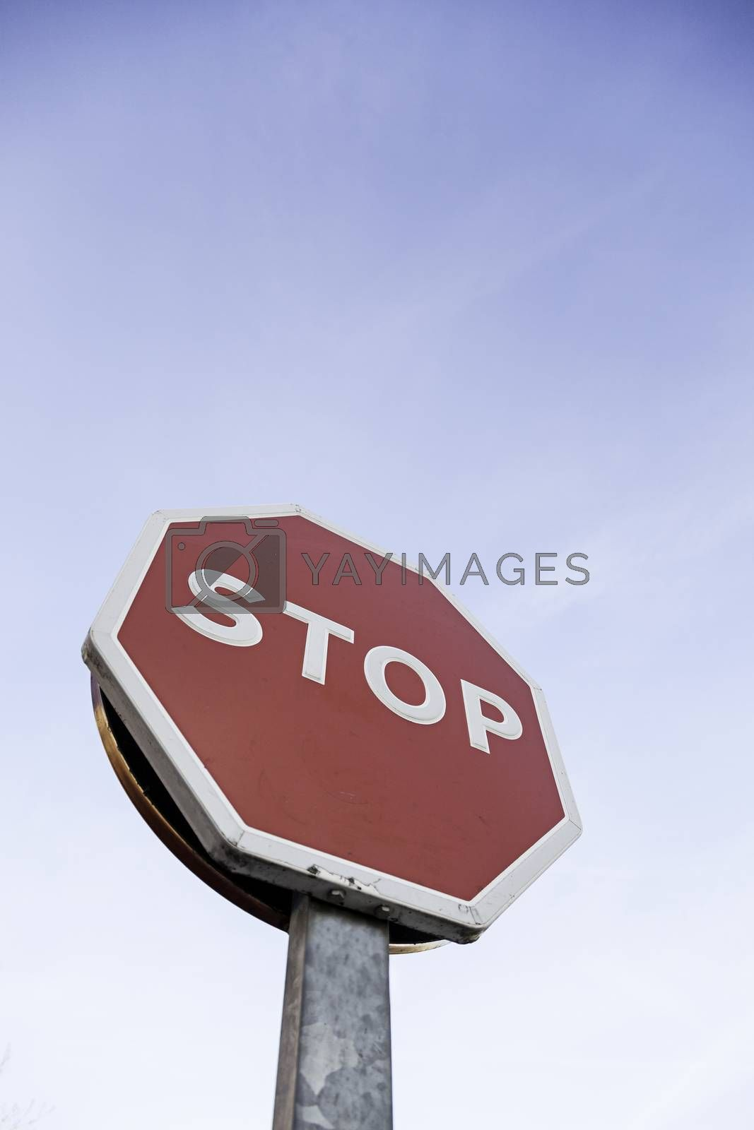 Stop sign outdoors, detail of an information signal in a highway traffic signal