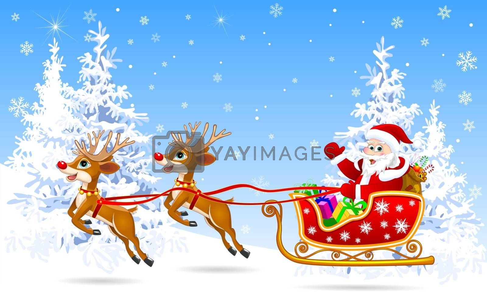 Santa on sleigh with deer 1 by liolle