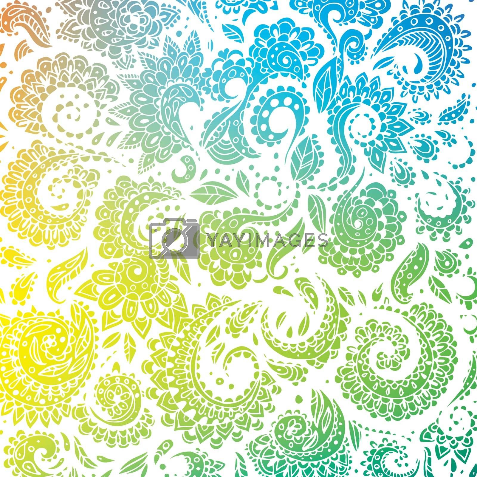 Vector illustration of Color seamless floral pattern