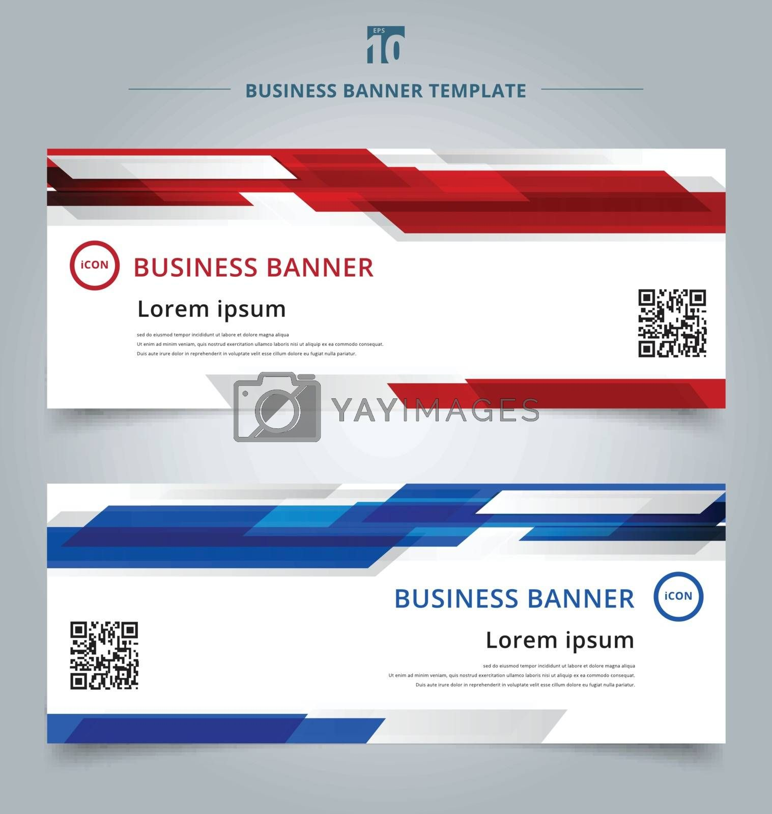 Set of abstract template technology web banner geometric red and blue color shiny motion background. Vector corporate design