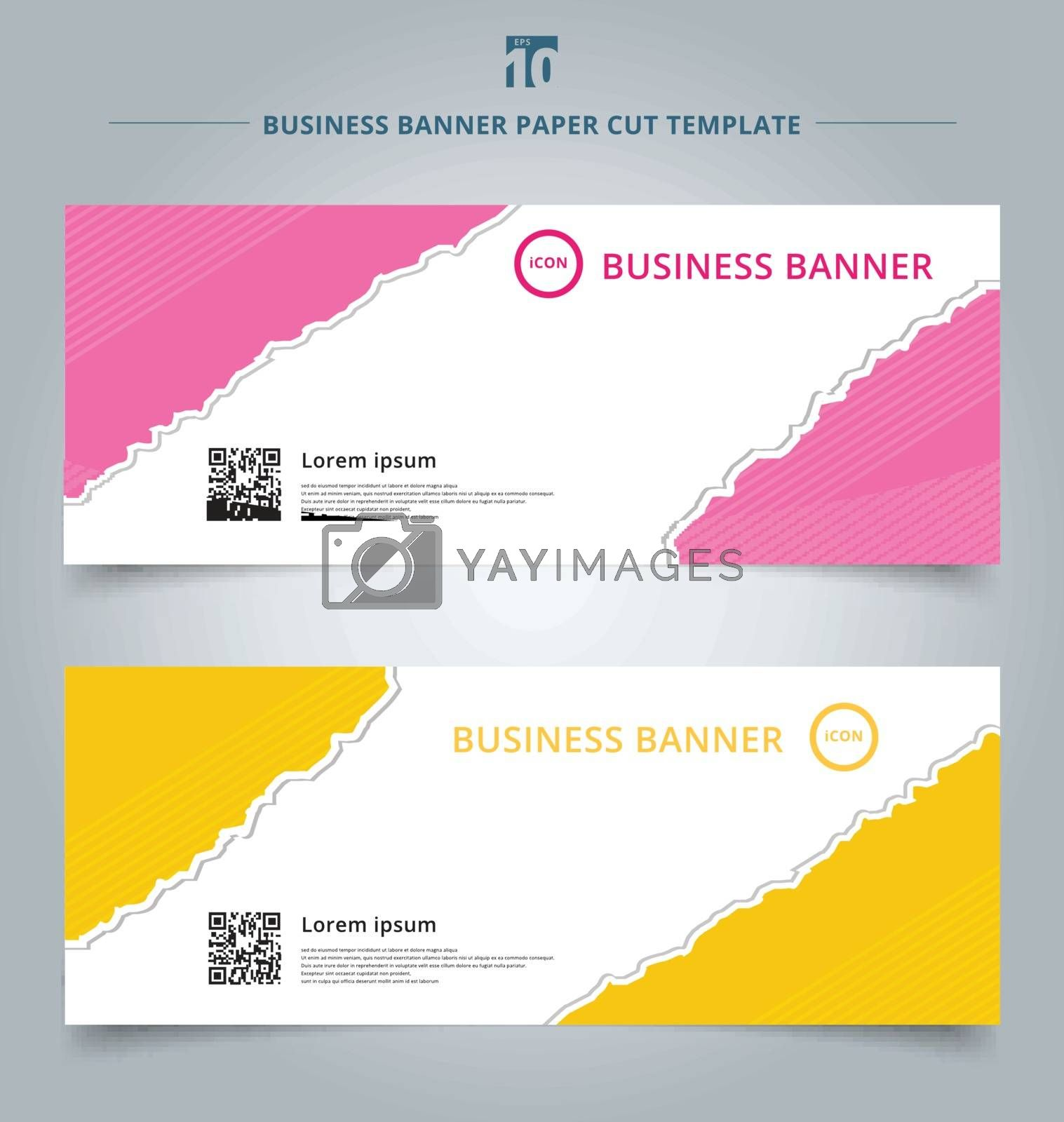 Set of template paper rip web banner pink and yellow color background. Vector corporate design