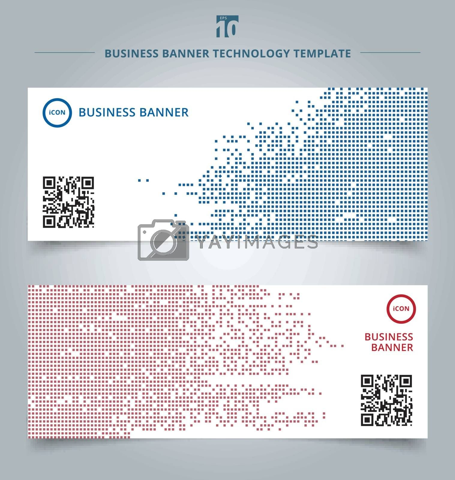 Set of template abstract technology digital data square blue and red pattern pixel background. Vector corporate design