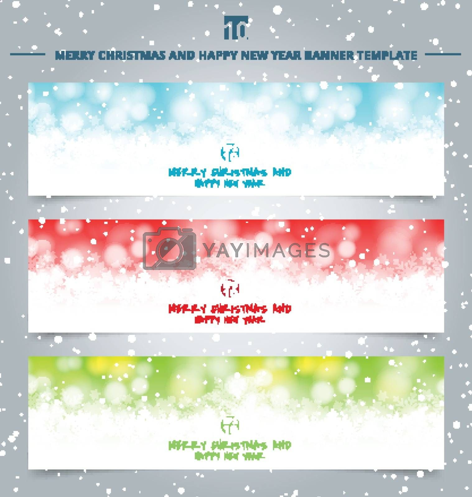 Set of winter christmas banners web winter white christmas bokeh and sparkling lights Festive background made of snowflakes and snow with blank copy space for your text. Vector illustration