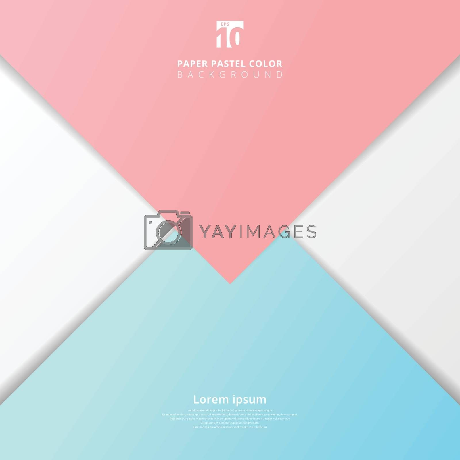 Abstract presentation template paper sheet overlap blue and pink pastel color background. Vector illustration