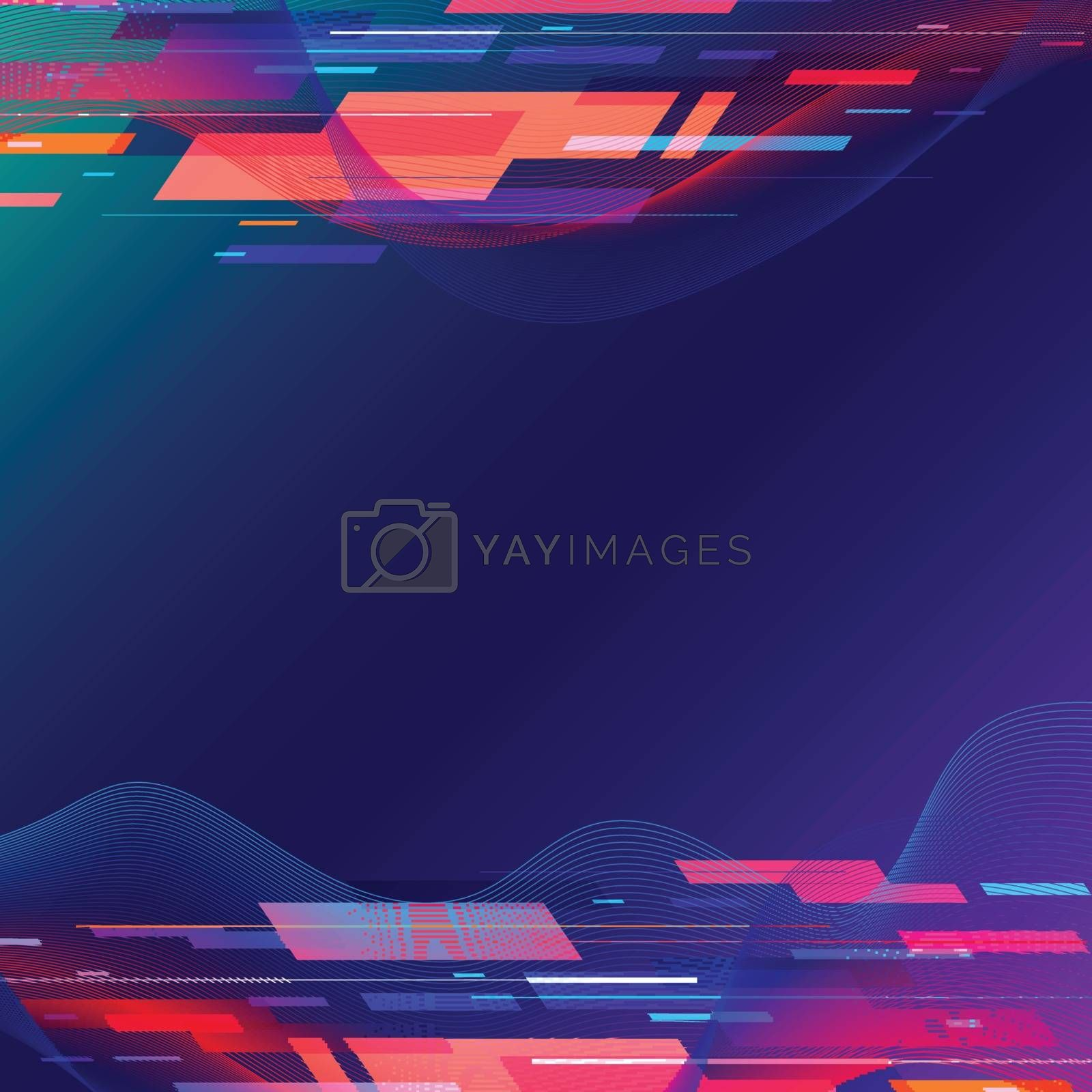 Template abstract technology geometric and twist lines colorful on dark blue background. Vector illustration