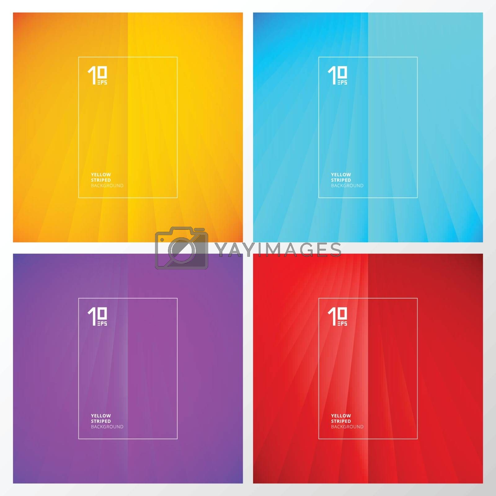 Set of abstract yellow, blue, purple, red striped perspective vertical lines pattern background. You can use for template, brochure. leaflet, poster, print, ad, banner. Vector illustration