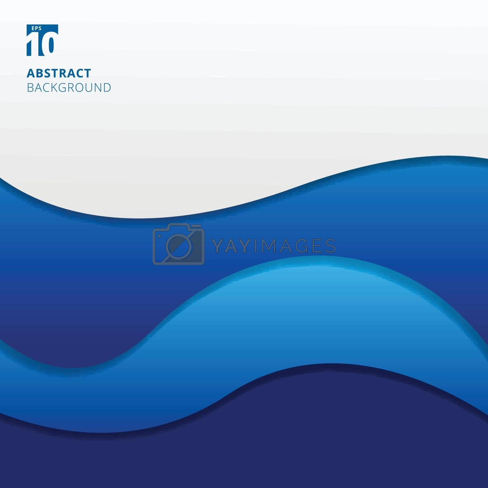 Abstract blue waves background with copy space. You can use for brochure, presentation, poster, leaflet, flyer, print, advertising, banner, website. Vector illustration