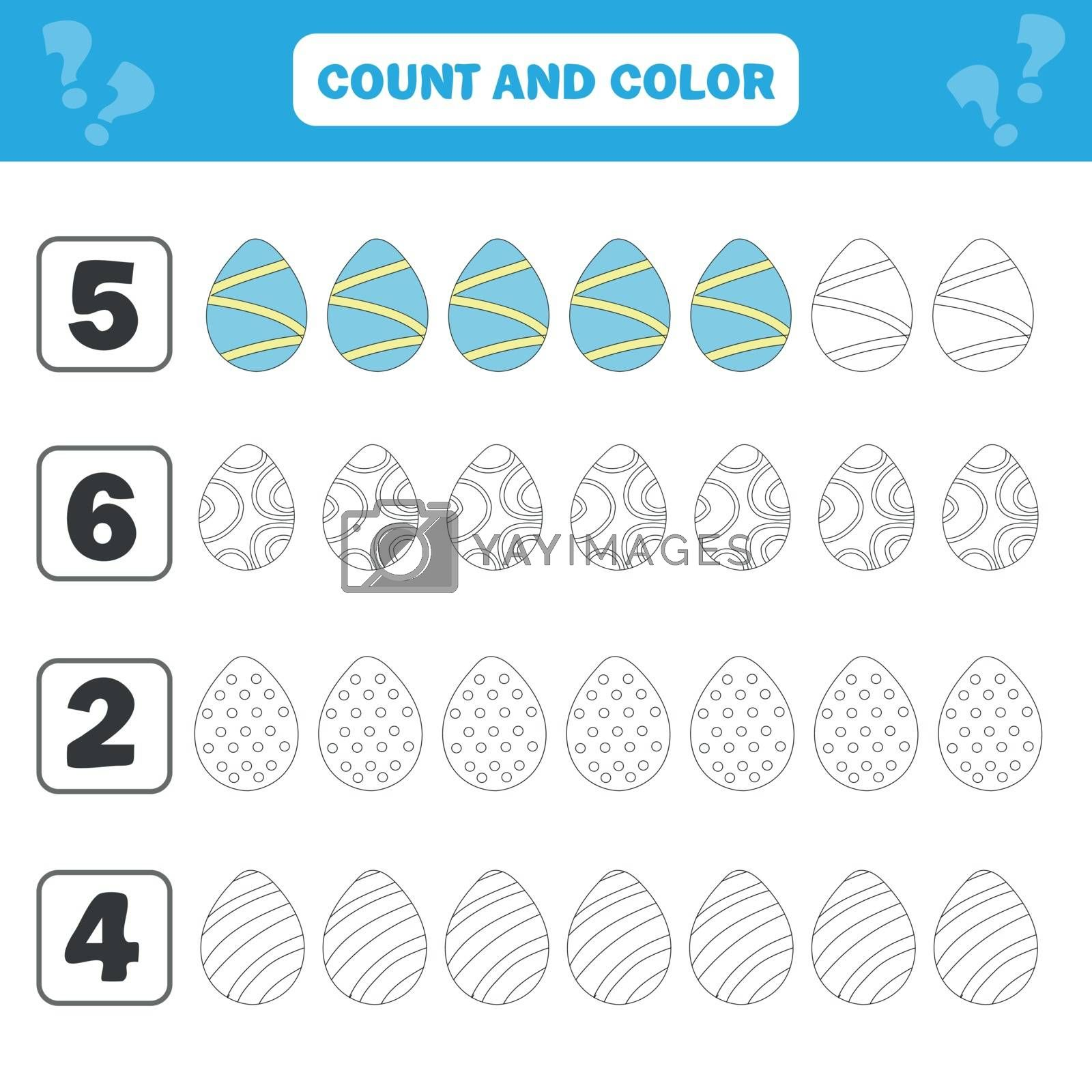 Game for preschool children. Count and color Easter eggs in the picture. Simple flat isolated vector illustration
