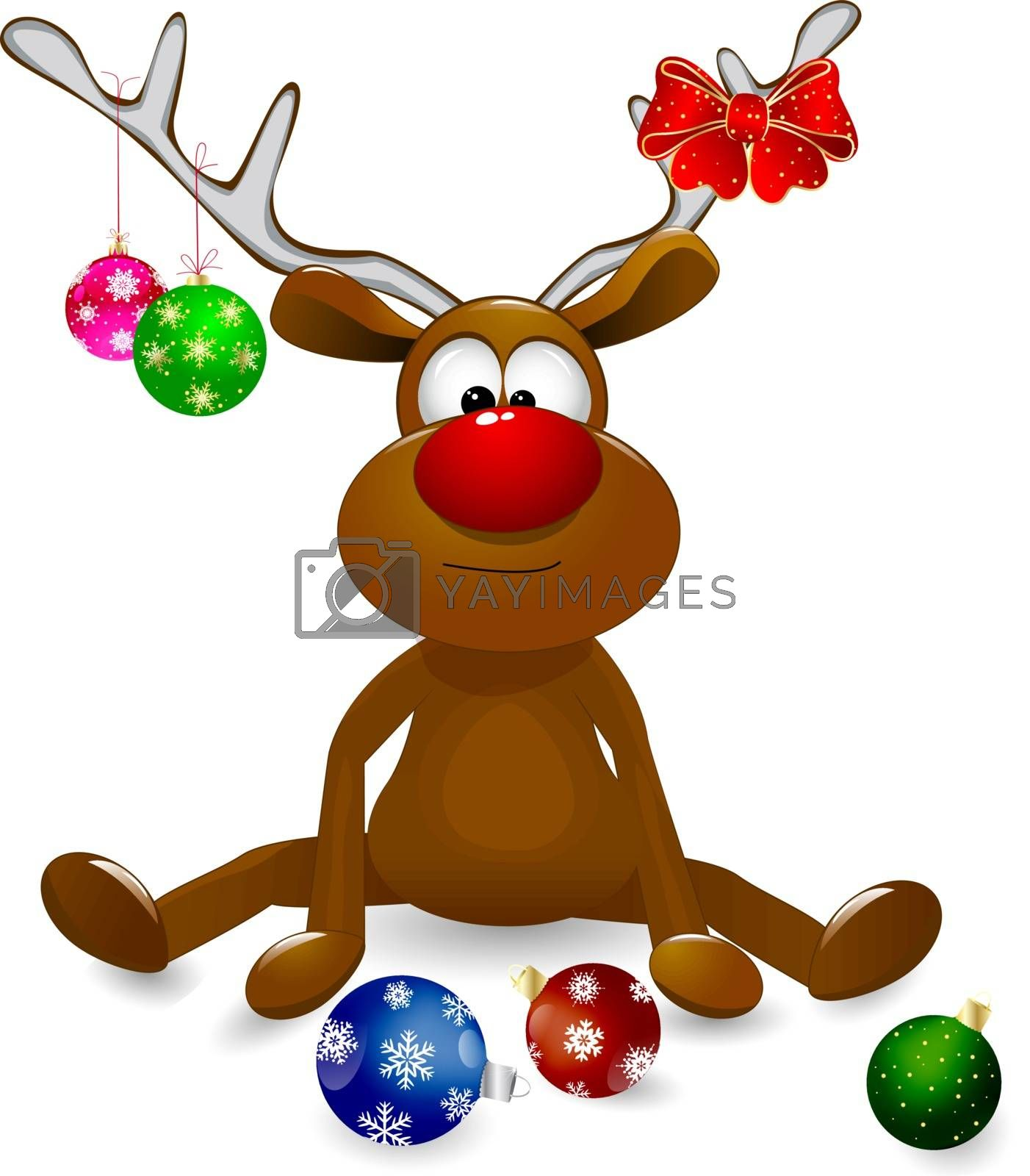 Cartoon deer decorated with Christmas fir-decorations and a bow-knot