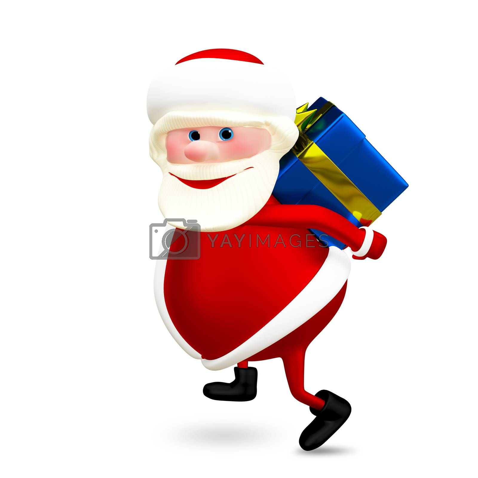 3D Illustration of Santa with a Gift on White Background