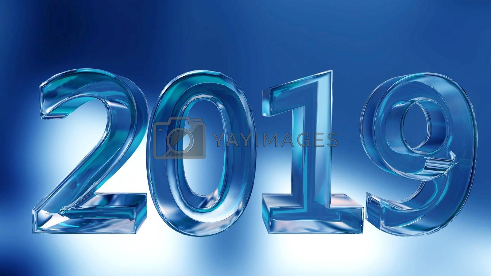 Stock Illustration Blue Inscription from Ice Symbol for New Year on Blue Background