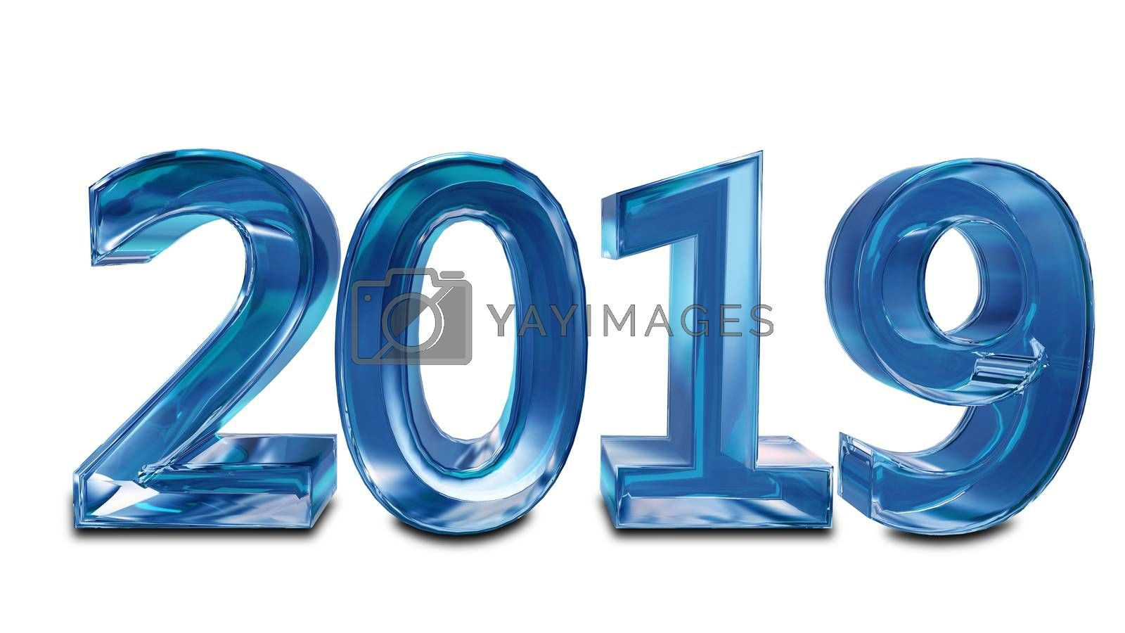 Stock Illustration Inscription from Ice Symbol for New Year on White Background