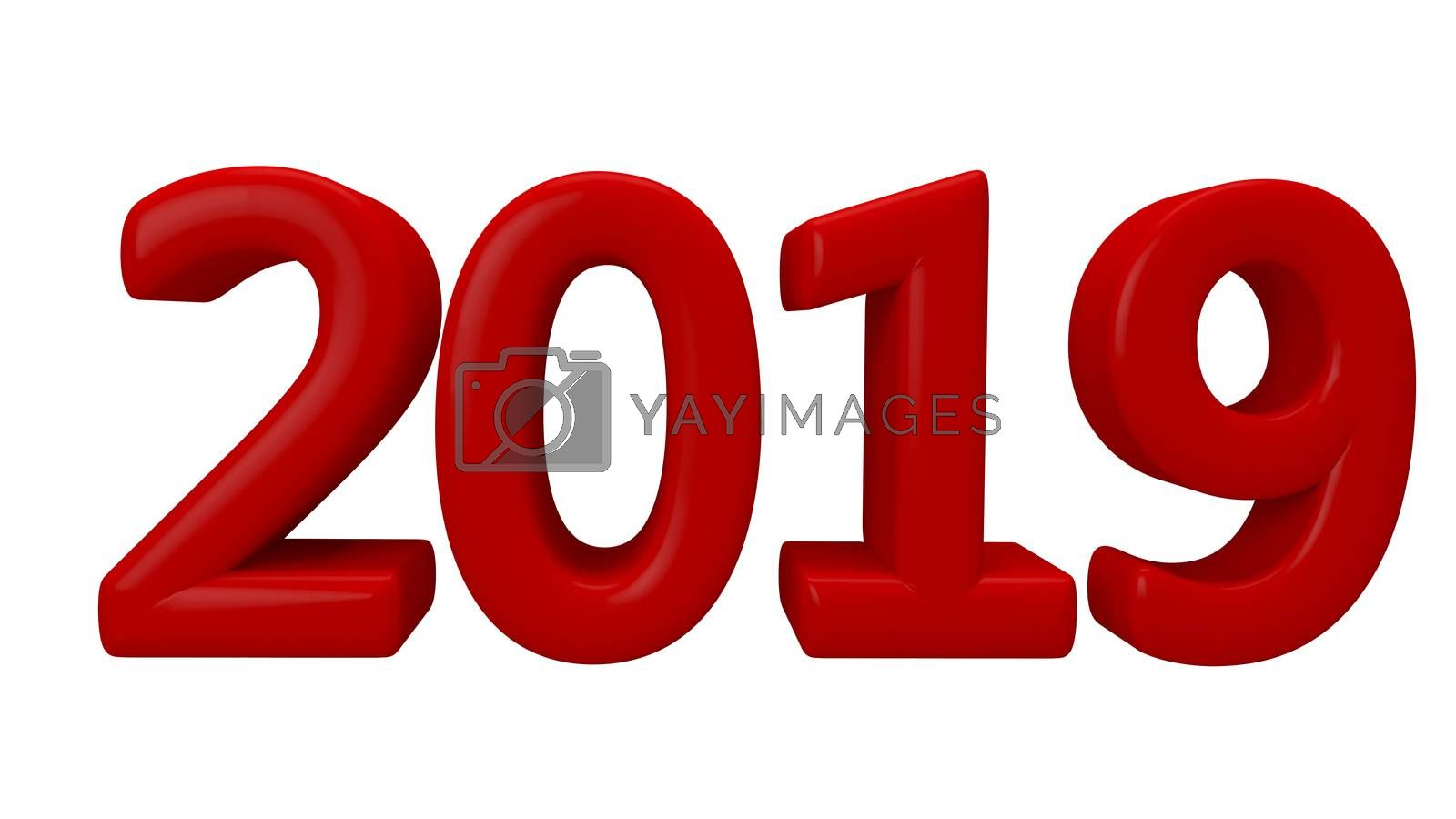 Stock Illustration Red  Inscription  Symbol for New Year on White Background