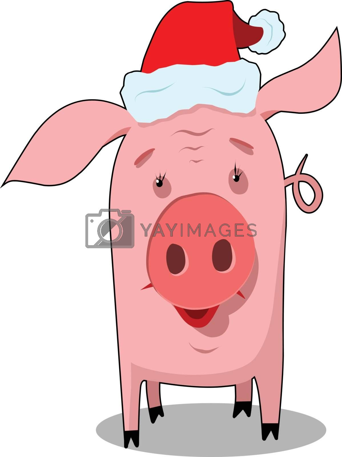 Stock Illustration New Year Pig Symbol on a White Background
