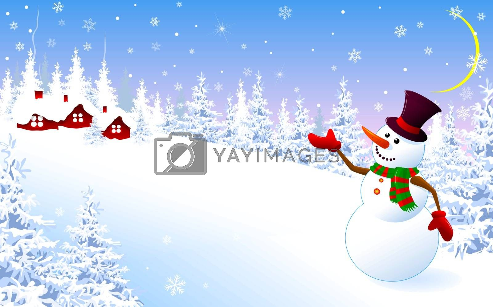 A snowman in a hat welcomes on a winter background. Snowman on the background of the village, winter landscape.