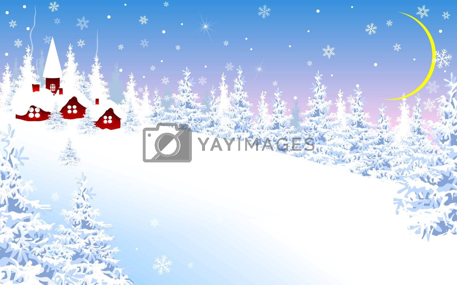 Winter landscape banner. Winter landscape, snow-covered village on the background of a winter forest.