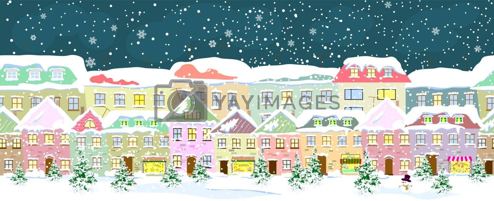 Winter city landscape, seamless. City street in winter. The houses are covered with snow. Snow on a city street. Snow-covered city.