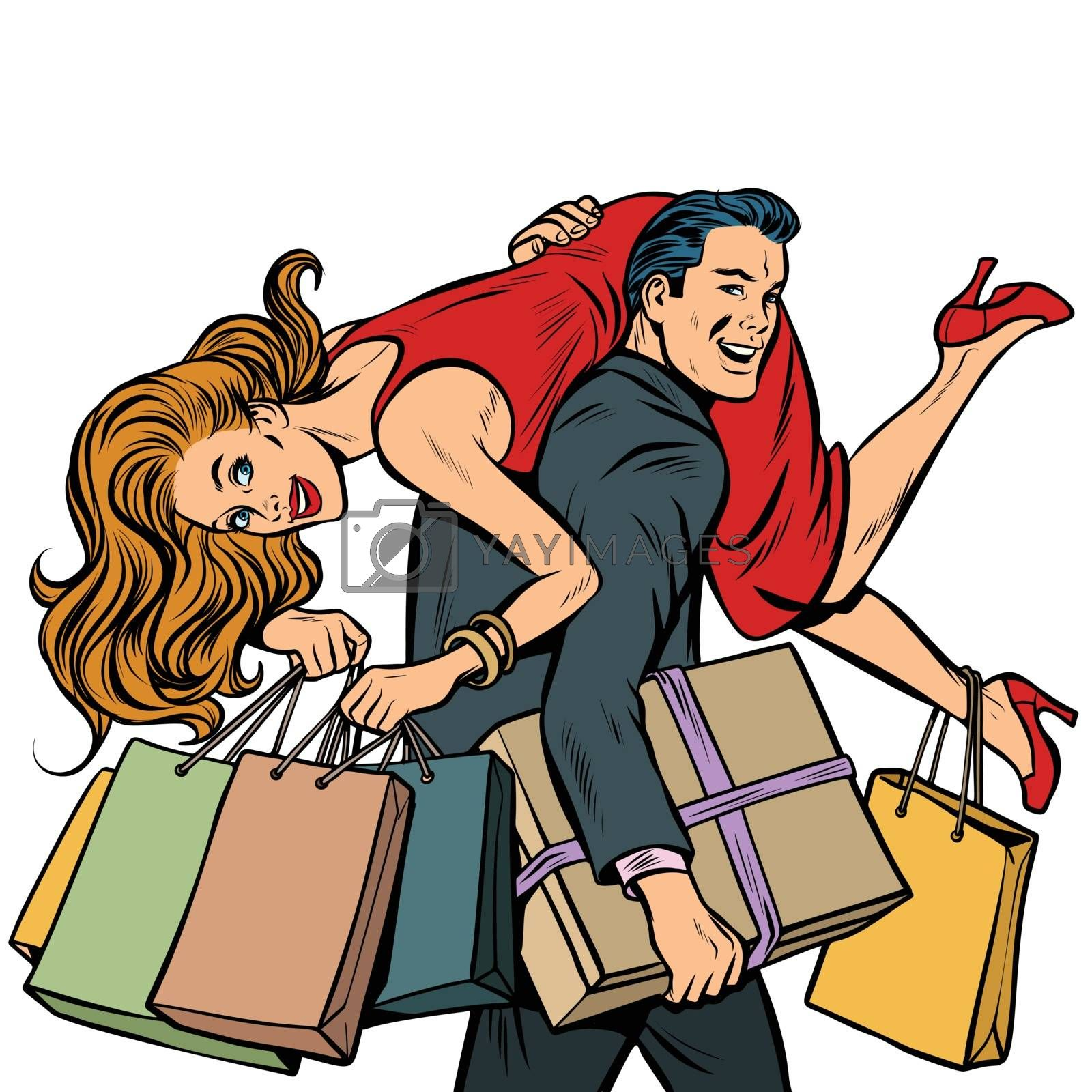 man carries woman in his arms, sale. Pop art retro illustration vintage kitsch drawing