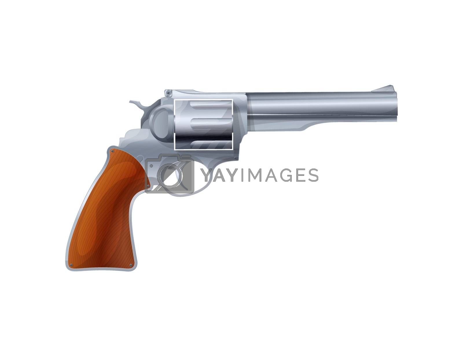 Old revolver vector over white