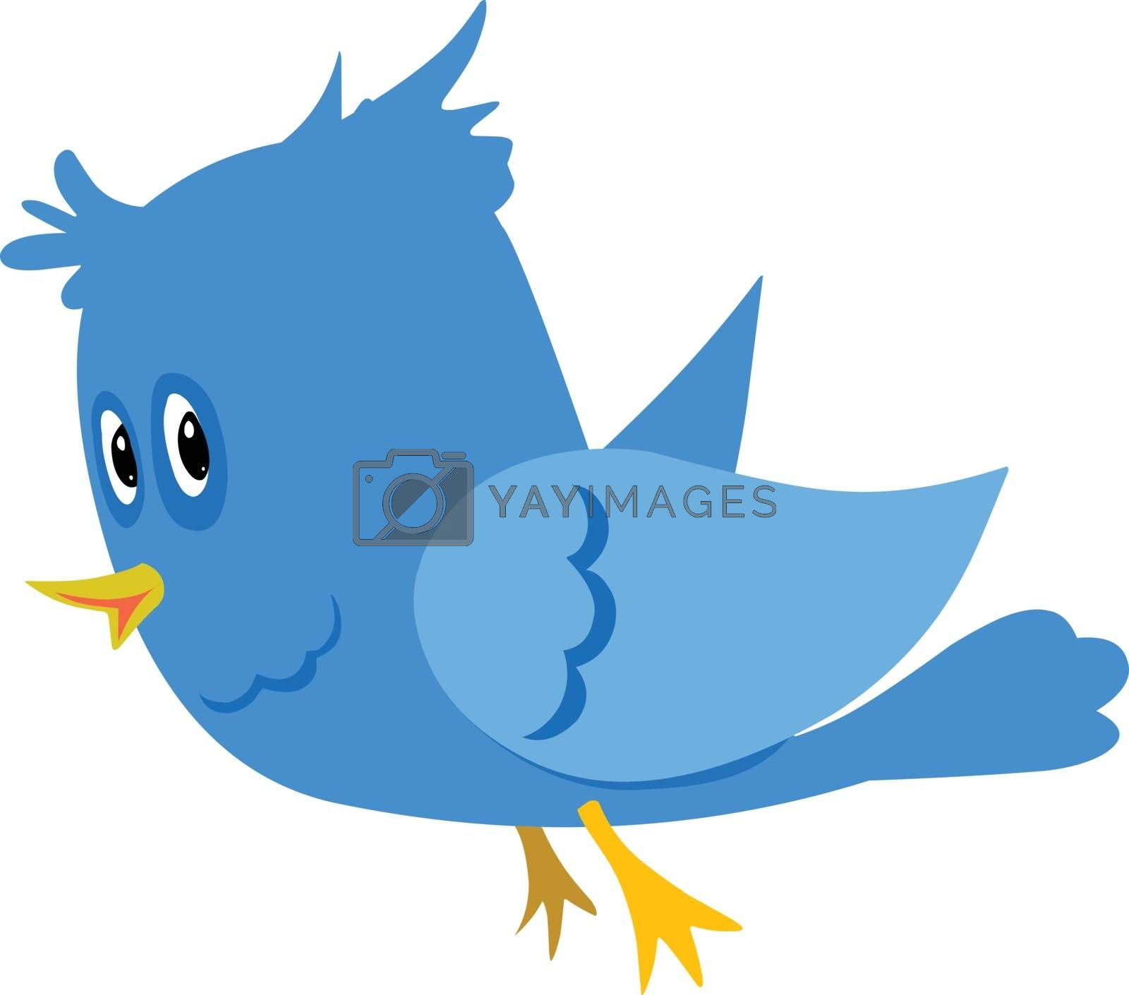 Stock Illustration Blue Cartoon Bird on a White Background