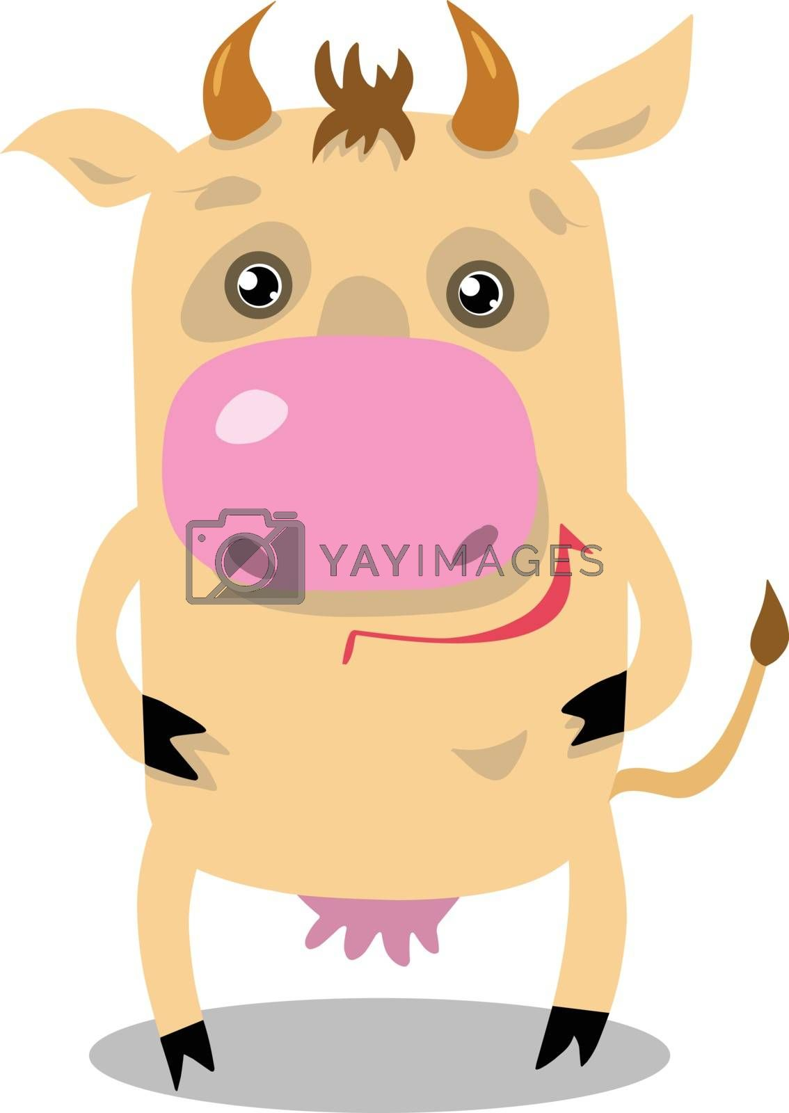 Stock Illustration Cartoon Cow on a White Background