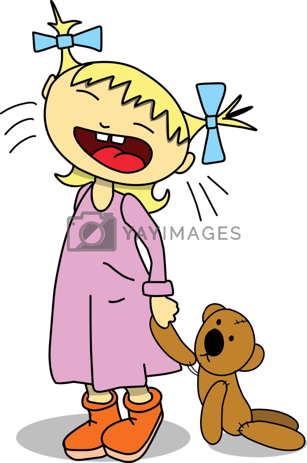 Stock Illustration Crying Girl With Teddy Bear on a White Background