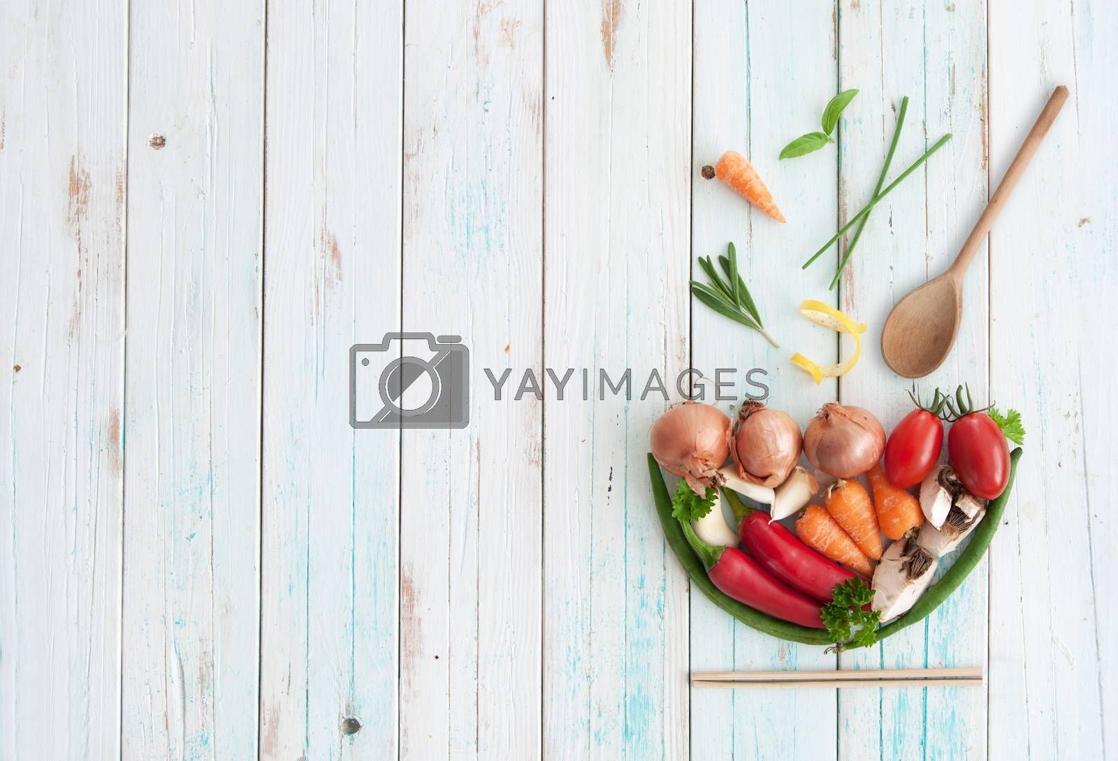 Royalty free image of Soup bowl background by unikpix