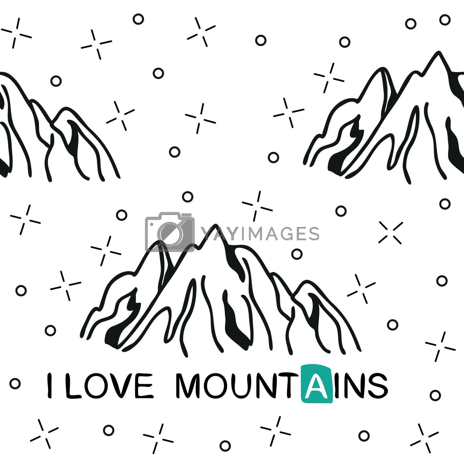 Hand drawn mountain seamless pattern. Landscape pattern. Vector illustration - I love mountains print