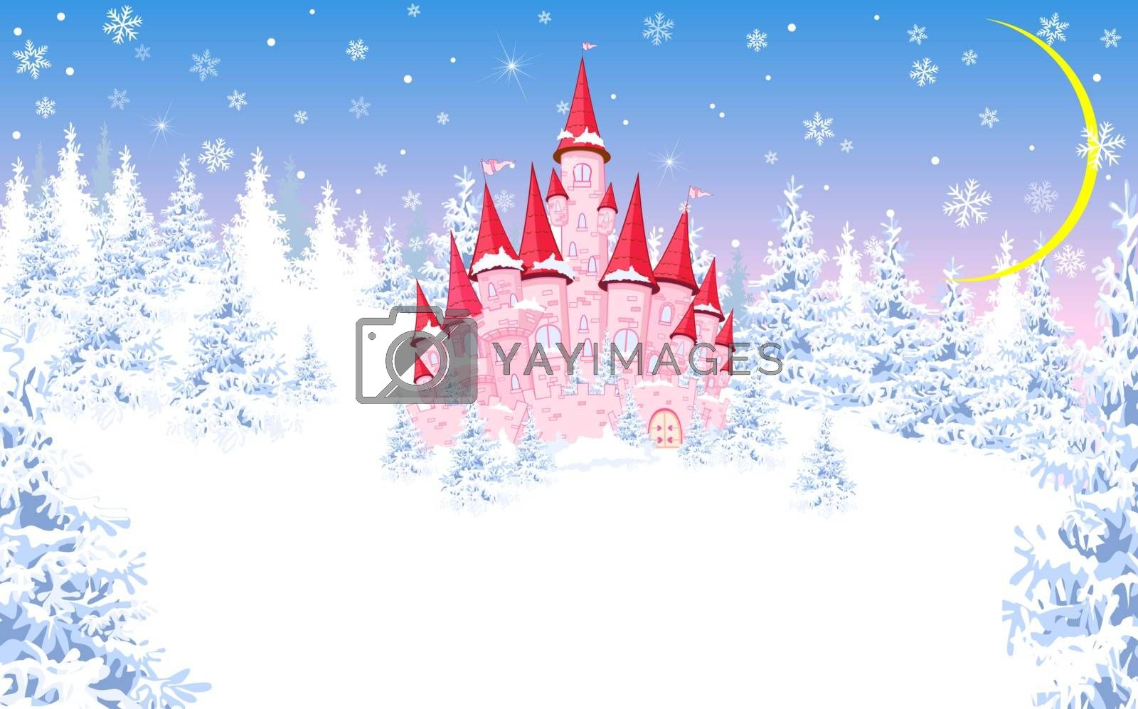Cartoon pink castle. Winter landscape, forest, snow. Night, the moon.