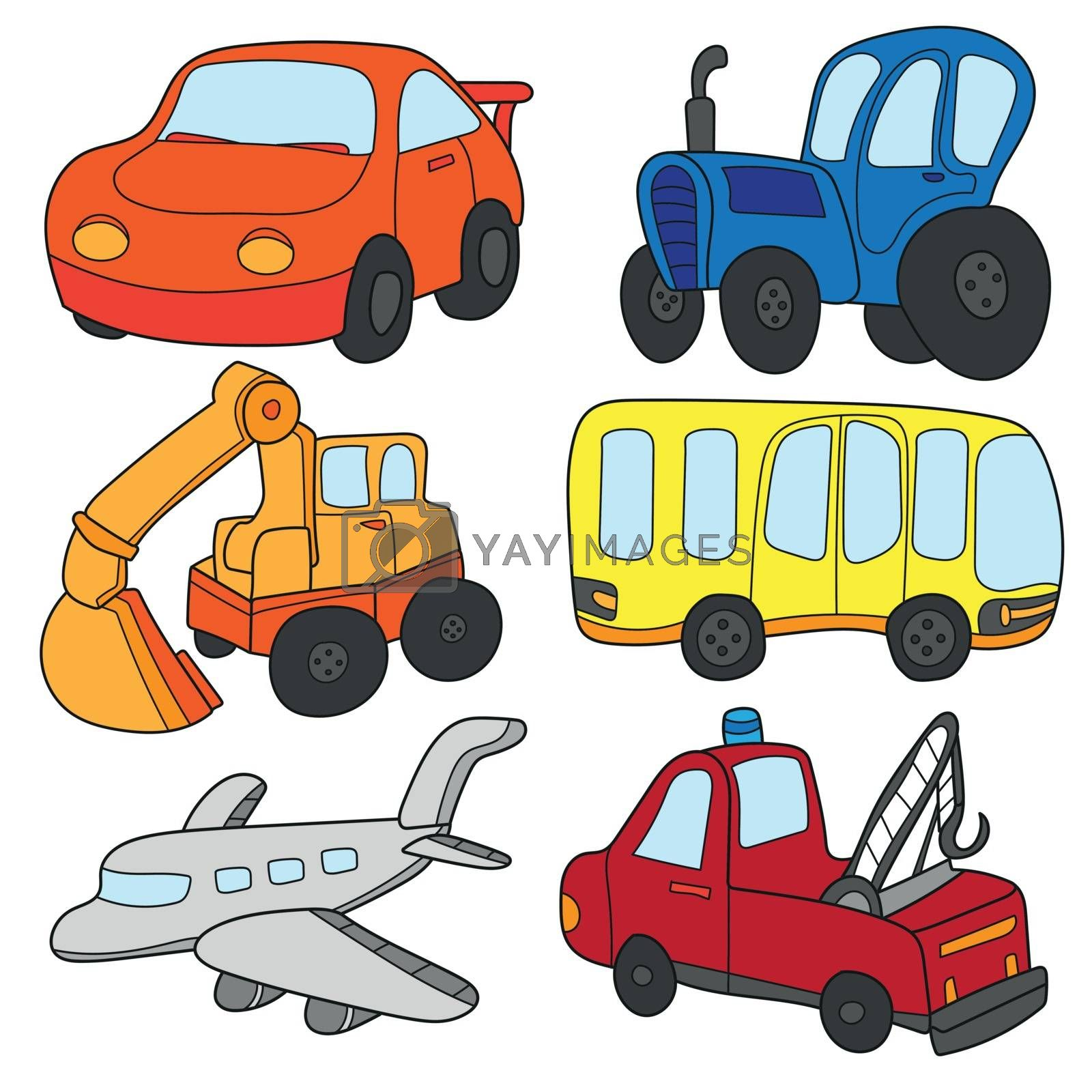 Cartoon cars collection. Cartoon cars collection. Vector of Transportation theme with Car, truck, bus,plain. A set of cute and colorful icon collection isolated on white background