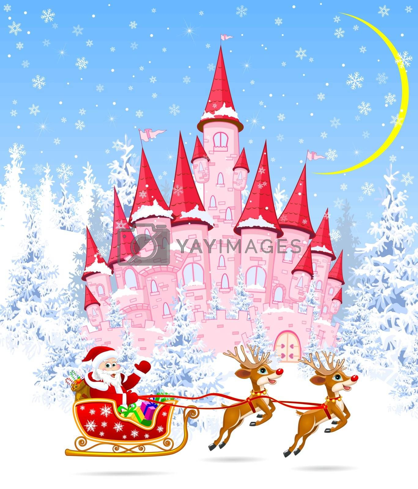 Santa on a sleigh on the background of the castle and the winter forest. Cartoon pink castle on the background of winter snow-covered forest. Winter landscape with a pink castle in the woods, snow, night, moon.