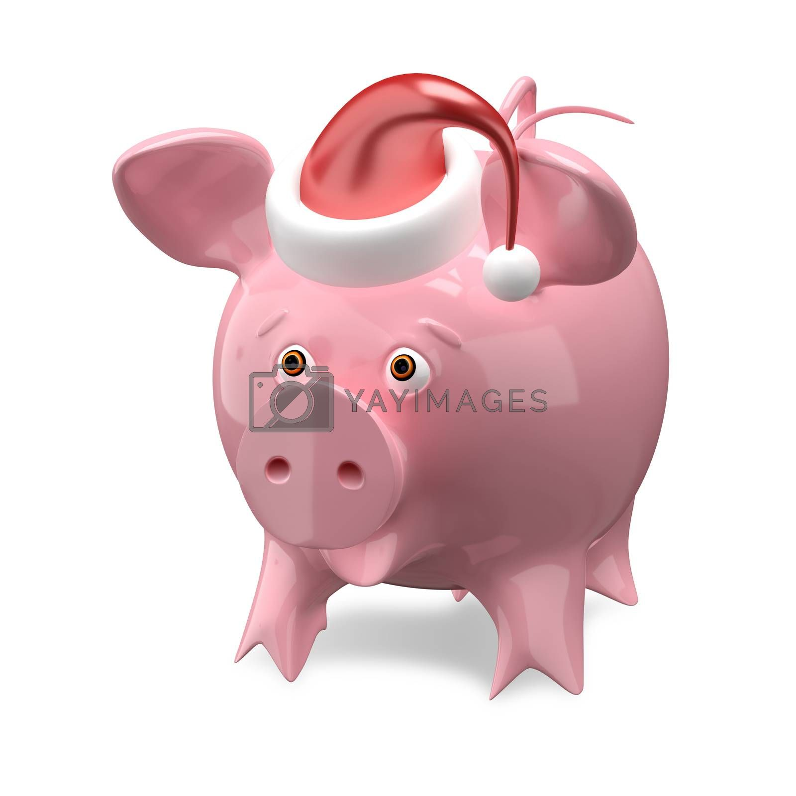 3D Illustration of a New Year Pig in a Cap on White Background